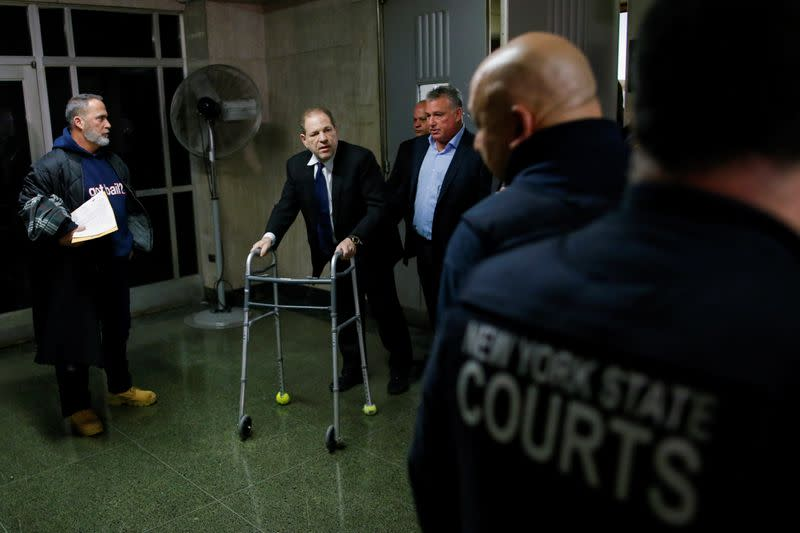 Film producer Weinstein exits the courtroom at the New York Supreme Court in New York