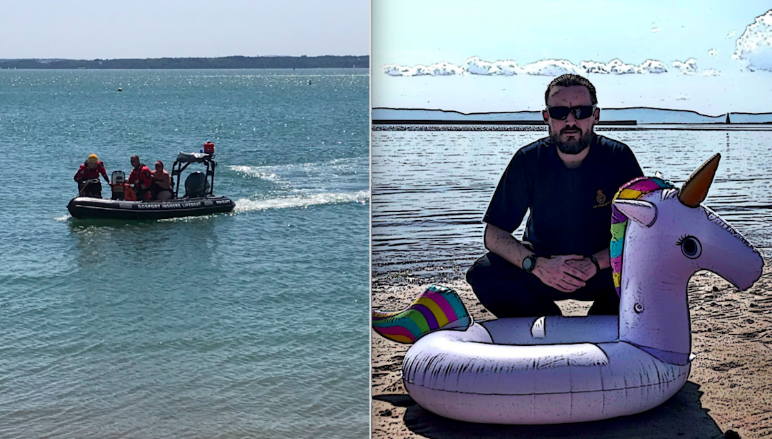 <em>The Coastguard rescued a man who had been swept hundreds of metres from the shore on an inflatable unicorn (Twitter/@hillheadcg)</em>
