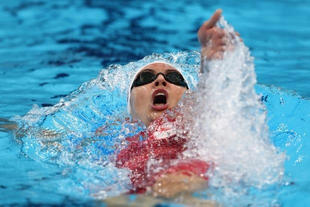 Kylie Masse of Team Canada swims to her second silver medal in Tokyo in the women's 200-metre backstroke final.  (Clive Rose/Getty Images - image credit)