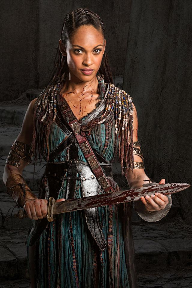 "Cynthia Addai-Robinson as Naevia in ""Spartacus: War of the Damned"" on Starz."