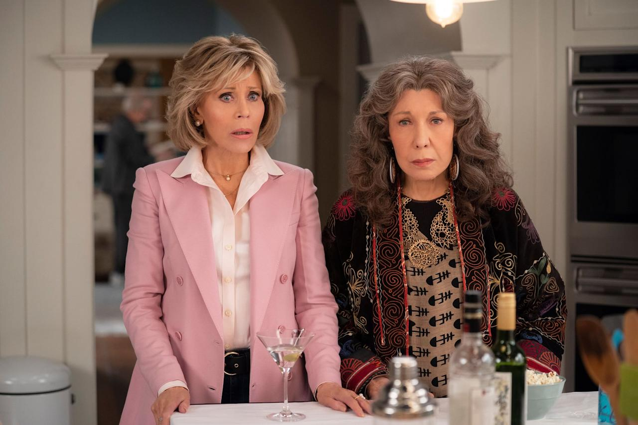 """<p>If there's one thing about <strong>Schitt's Creek</strong> that seems truly irreplaceable, it's Moira Rose's sharp wit and knack for drama (cue iconic shrieking here). Although <a href=""""https://www.popsugar.com/entertainment/Best-Moira-GIFs-From-Schitt-Creek-46025978"""" class=""""ga-track"""" data-ga-category=""""Related"""" data-ga-label=""""http://www.popsugar.com/entertainment/Best-Moira-GIFs-From-Schitt-Creek-46025978"""" data-ga-action=""""In-Line Links"""">no one will ever truly outshine Moira</a>, <strong><a href=""""https://www.popsugar.com/entertainment/Grace-Frankie-Renewed-Season-7-Netflix-46574458"""" class=""""ga-track"""" data-ga-category=""""Related"""" data-ga-label=""""http://www.popsugar.com/entertainment/Grace-Frankie-Renewed-Season-7-Netflix-46574458"""" data-ga-action=""""In-Line Links"""">Grace and Frankie</a></strong> provides viewers with similar outlandish antics. Jane Fonda and Lily Tomlin steal the show as two divorcees fighting off respective mental breakdowns, but the way they ultimately come together is heartwarming and reminiscent of Moira's softer side. The two also end up making their own line of sex toys, and given her love for scandal, it seems like Moira would approve.</p> <p><a href=""""http://www.netflix.com/title/80017537"""" target=""""_blank"""" class=""""ga-track"""" data-ga-category=""""Related"""" data-ga-label=""""http://www.netflix.com/title/80017537"""" data-ga-action=""""In-Line Links"""">Watch <strong>Grace and Frankie</strong> on Netflix</a>.</p>"""