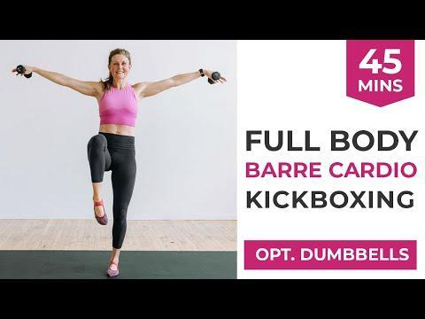 """<ul><li><strong>Equipment: </strong>Light dumbbells</li></ul><p>Go the full 45 with Lindsay and her Barre-boxing cardio workout. Strengthen, lengthen and tone, not to mention sweat... alot. Enjoy! </p><p><a href=""""https://www.youtube.com/watch?v=LipmnrzdHJ4&ab_channel=nourishmovelove"""" rel=""""nofollow noopener"""" target=""""_blank"""" data-ylk=""""slk:See the original post on Youtube"""" class=""""link rapid-noclick-resp"""">See the original post on Youtube</a></p>"""
