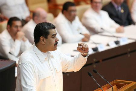 Venezuela's President Nicolas Maduro speaks during the celebrations  of the 13rd anniversary of the creation of the Bolivarian Alliance for the Peoples of Our America - Peoples' Trade Treaty