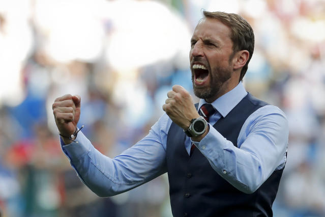 England head coach Gareth Southgate celebrates his team's 6-1 victory (AP Photo/Antonio Calanni)