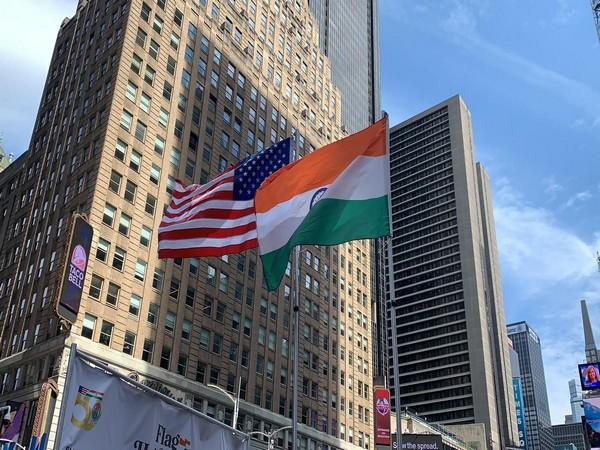 India and US flags at Times Square