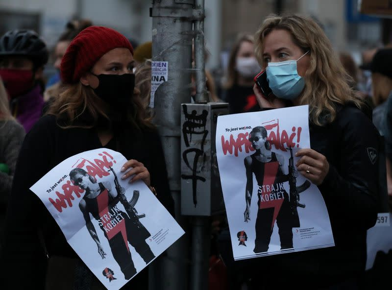 People protest against imposing further restrictions on abortion law in Warsaw