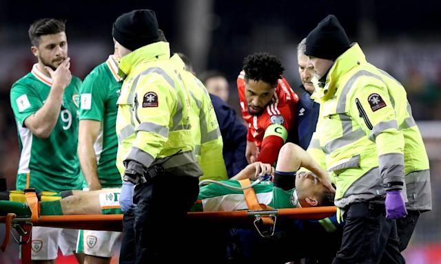 """<span class=""""element-image__caption"""">Séamus Coleman was carried from the pitch on a stretcher after suffering a broken leg following a tackle by the Wales defender Neil Taylor. </span> <span class=""""element-image__credit"""">Photograph: Ryan Byrne/Rex Shutterstock</span>"""