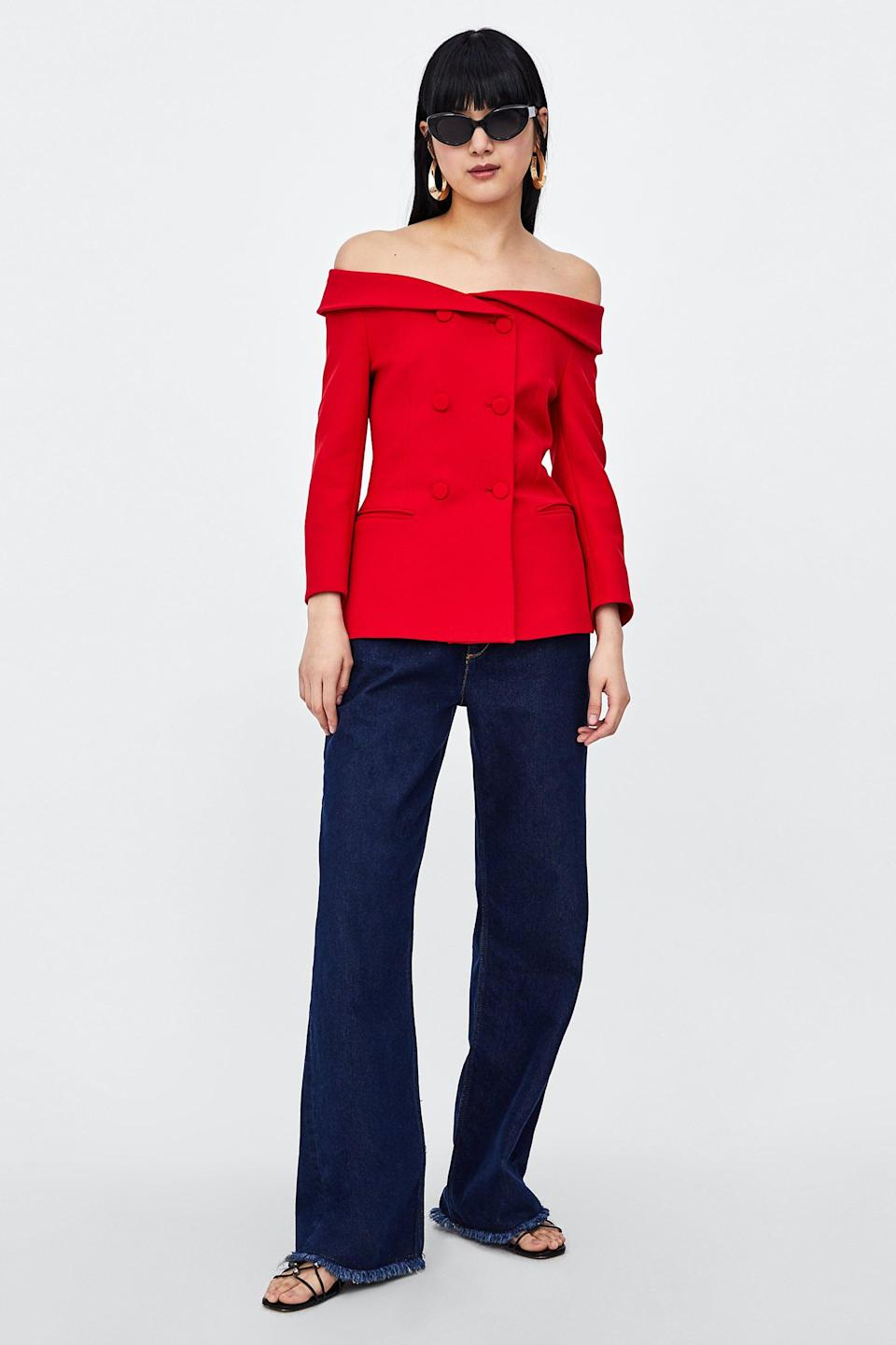 Style the boatneck blazer with wide-leg trousers or jeans. (Photo: Zara)