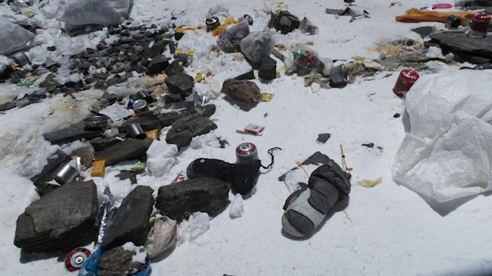 Five years ago Nepal implemented a $4,000 rubbish deposit per team that would be refunded if each climber brought down at least eight kilogrammes (18 pounds) of waste (AFP Photo/Damian Benegas)