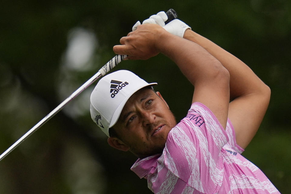 Xander Schauffele tees off on the fourth hole during the third round of the Masters golf tournament on Saturday, April 10, 2021, in Augusta, Ga. (AP Photo/Gregory Bull)