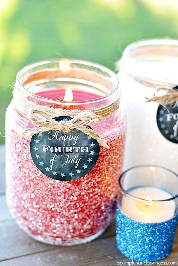 """<p>These patriotic candles will add some twinkle to your table and light up your night.</p><p><em>Get the tutorial from <a href=""""http://apumpkinandaprincess.com/2014/06/diy-patriotic-glitter-candles.html"""" rel=""""nofollow noopener"""" target=""""_blank"""" data-ylk=""""slk:A Pumpkin & A Princess"""" class=""""link rapid-noclick-resp"""">A Pumpkin & A Princess</a>. </em></p><p><strong><strong>What You'll Need:</strong></strong> <a href=""""https://www.amazon.com/12-Ball-Mason-Jar-Lid/dp/B014V7RSE8/?tag=syn-yahoo-20&ascsubtag=%5Bartid%7C10070.g.2446%5Bsrc%7Cyahoo-us"""" rel=""""nofollow noopener"""" target=""""_blank"""" data-ylk=""""slk:Mason jars"""" class=""""link rapid-noclick-resp"""">Mason jars</a> ($6, Amazon)</p>"""