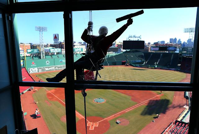 In most years, the press box would be crawling with writers ready to get their first glimpse of a new season's team. (Photo by John Tlumacki/The Boston Globe via Getty Images)