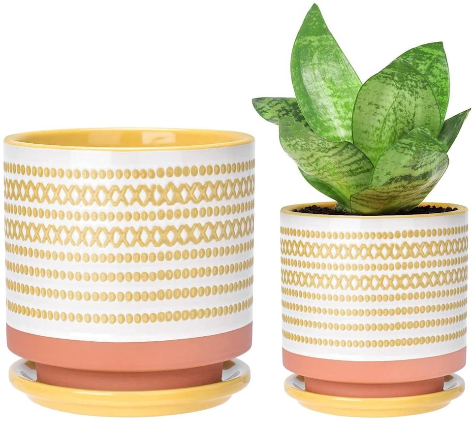 <p><span>Small Ceramic Planters with Porcelain Tray</span> ($25 for 2) comes with one 6-inch pot and one 4.75-inch pot, perfect for decorative indoor and outdoor use. They will instantly brighten up your outdoor space and garner so many compliments. </p>