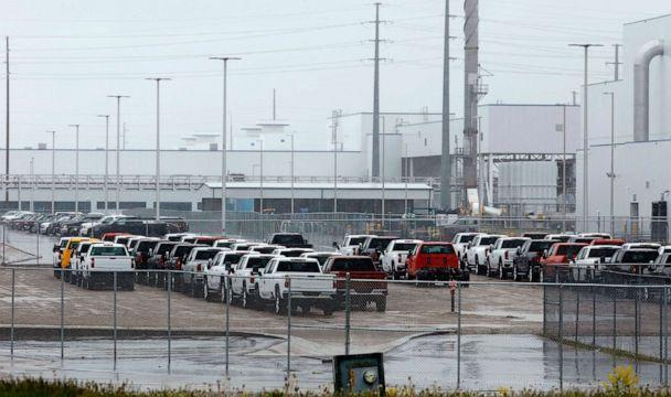 PHOTO: The General Motors Flint Assembly plant is viewed on May 18, 2020 in Flint, Mich., as a gradual ramp-up of plants began following a two-month shutdown due to the coronavirus pandemic. (Jeff Kowalsky/AFP via Getty Images, FILE)
