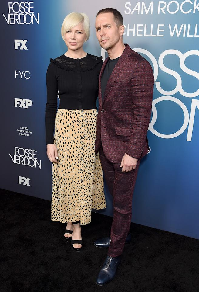 Michelle Williams proved leopard print isn't going anywhere this season in a £119 Whistles midi skirt that we're already saving up for. <em>[Photo: Getty]</em>