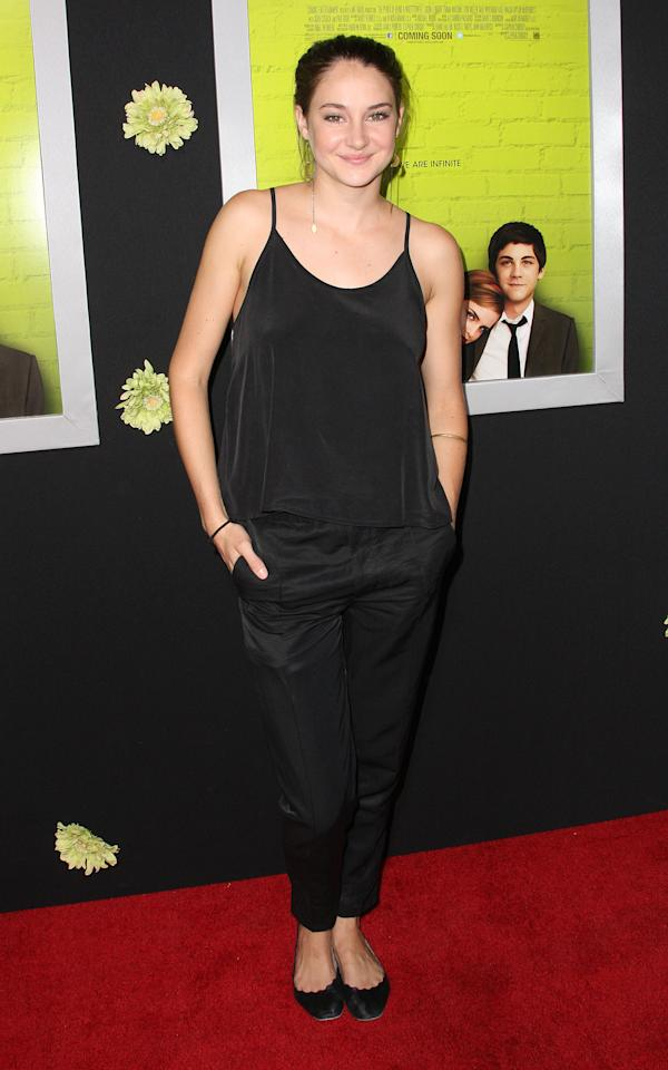 "HOLLYWOOD, CA - SEPTEMBER 10:  Actress Shailene Woodley attends the Premiere Of Summit Entertainment's ""The Perks Of Being A Wallflower"" at the Arclight Cinerama Dome on September 10, 2012 in Hollywood, California.  (Photo by Frederick M. Brown/Getty Images)"