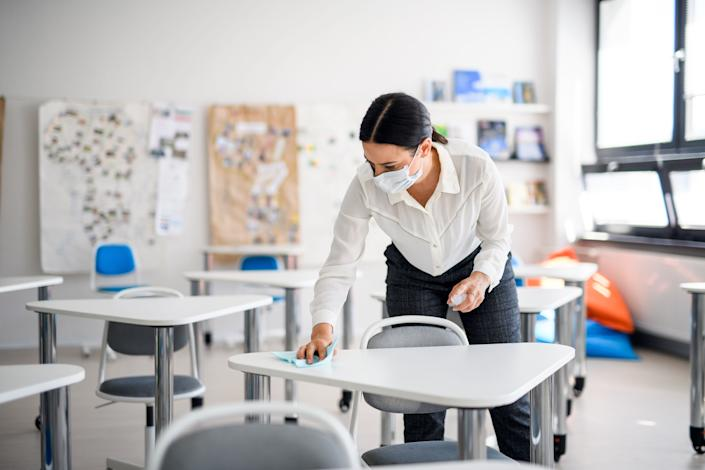 Many teachers told HuffPost that they're concerned about being able to social distance and enforce other coronavirus-related policies when they go back to school. (Photo: Halfpoint via Getty Images)