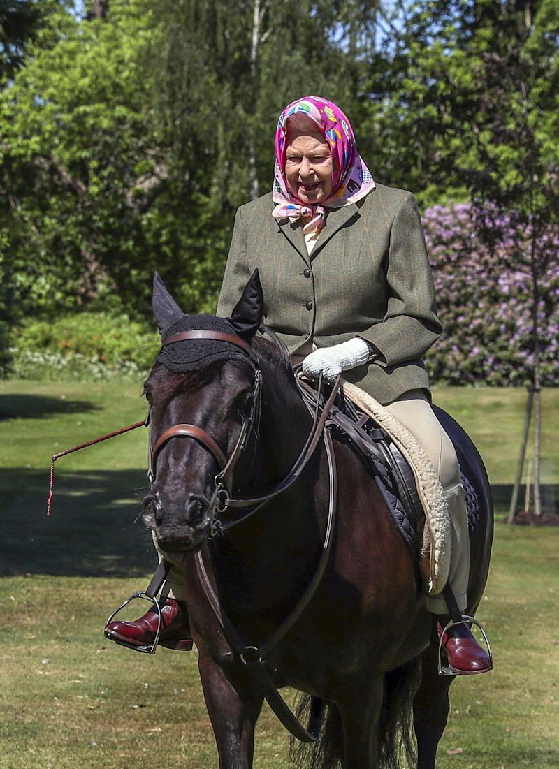 Queen Elizabeth II rides Balmoral Fern, her 14-year-old Fell pony, at Windsor Castle.