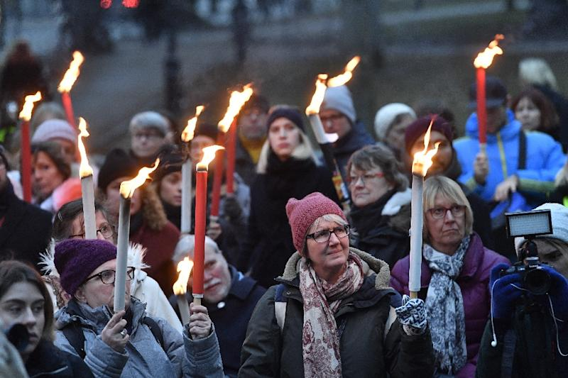 Women gathered in Stockholm in January in a show of support for victims of sexual violence (AFP Photo/Jonas EKSTROMER)