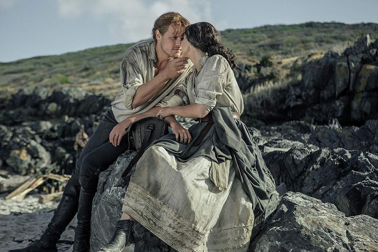 """<p>In the role that led many of us to fall for Heughan, he plays the unforgettable Jamie Fraser, a dashing Scottish soldier who falls into a passionate love affair with the time traveling nurse turned doctor, Claire Fraser. Leading up to what will be <a href=""""https://www.oprahmag.com/entertainment/tv-movies/a27541557/outlander-season-5-premiere-date-cast-trailer-news/"""" target=""""_blank"""">the show's fifth season</a>, the couple remain united throughout war, assault, illness, torture, and everything in between.</p><p><a class=""""body-btn-link"""" href=""""https://www.netflix.com/title/80103583"""" target=""""_blank"""">Watch Now</a></p>"""