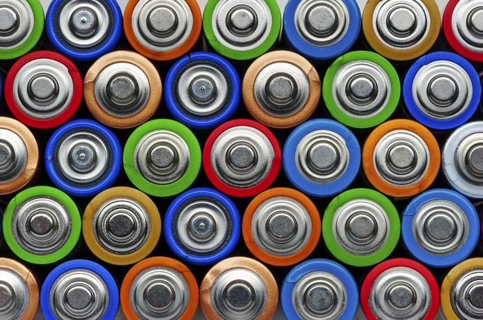 Lots of batteries stacked in several layers, seen straight from the anode side.