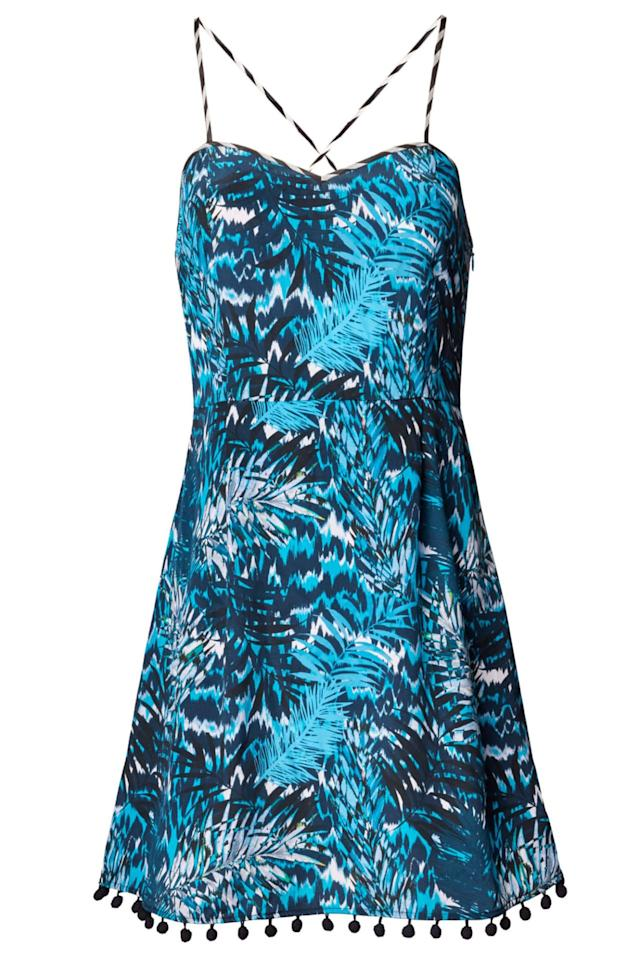"""<p><em>Tiger Palm Blue Strappy Sundress, MATTHEW WILLIAMSON (Available at Orchard Mile), $435</em></p><p><a rel=""""nofollow"""" href=""""https://orchardmile.com/matthew-williamson/tiger-palm-blue-strappy-sundress-mw1846e29d?color=blue"""">BUY NOW</a></p>"""