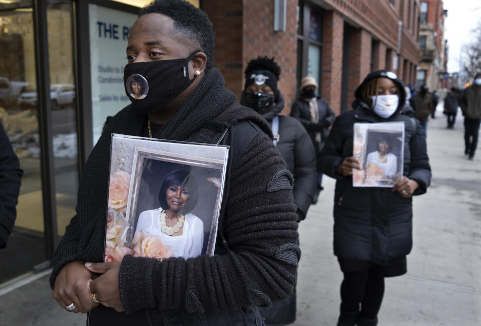 Niall Gulstone of Atlanta, waits on line to attend a public viewing, at the Abyssinian Baptist Church, for Cicely Tyson in the Harlem neighborhood of New York, Monday, Feb. 15, 2021. Tyson, the pioneering Black actress died on Jan. 28. (AP Photo/Craig Ruttle)