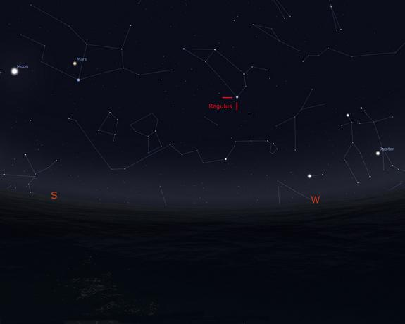 This Stellarium sky map shows the position of the star Regulus in the constellation Leo as it will appear in the southwestern sky, 90 degrees to the right of the moon, at 2 a.m. EDT on March 20, 2014. Regulus will appear roughly as high as the