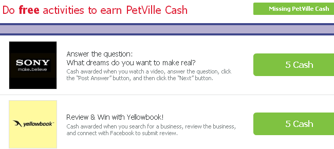 Free PV Cash from PetVille