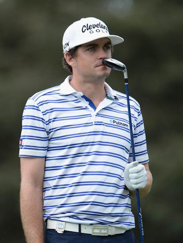 ROCHESTER, NY - AUGUST 06: Keegan Bradley of the United States reacts during a practice round prior to the start of the 95th PGA Championship at Oak Hill Country Club on August 6, 2013 in Rochester, New York. (Photo by Stuart Franklin/Getty Images)