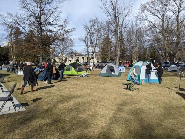 Homeless advocates set up a tent city in Penticton's Gyro Park to protest a city decision to close an emergency winter shelter.  (CBC News - image credit)