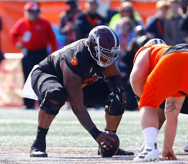 South center Elgton Jenkins of Mississippi State at the Senior Bowl (AP Photo)