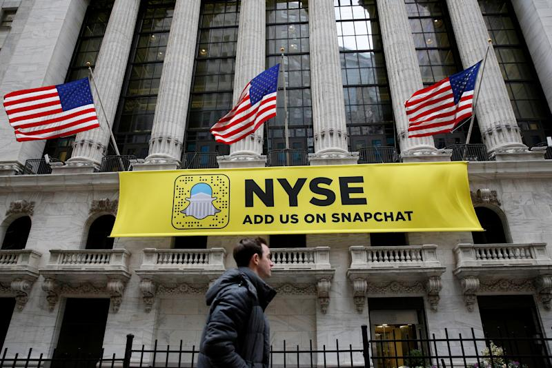 A Snapchat sign hangs on the facade of the New York Stock Exchange (NYSE) in New York City, U.S. on January 23, 2017. REUTERS/Brendan McDermid