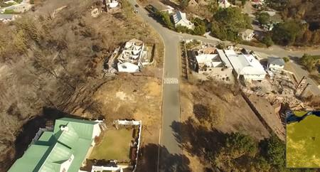 An aerial image shows the damage after a wildfire in Knysna
