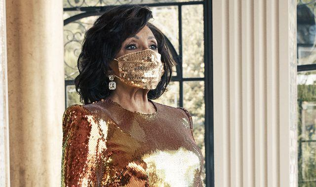Shirley Bassey slips into sequin face mask to celebrate 70 years in showbiz