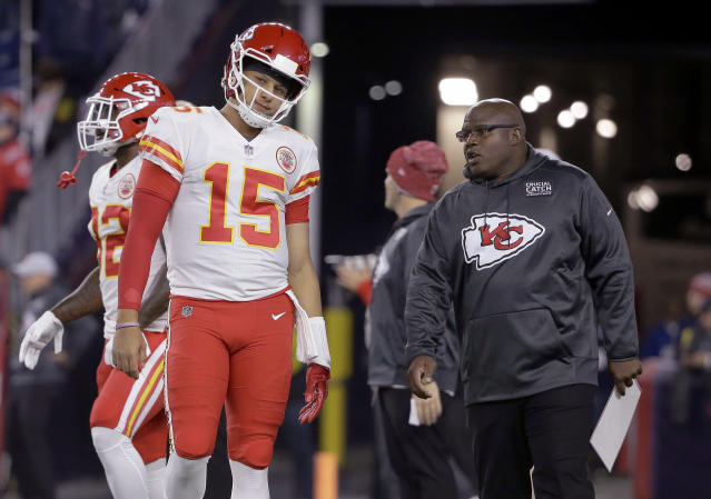 Chiefs offensive coordinator Eric Bieniemy knows that he and Patrick Mahomes have their work cut out for them in the divisional round against the Colts. (AP)