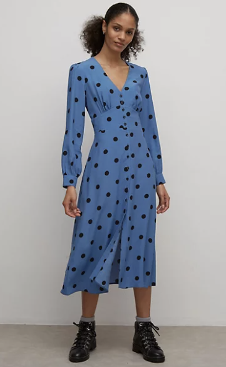Polka Dot V-Neck Midi Tea Dress