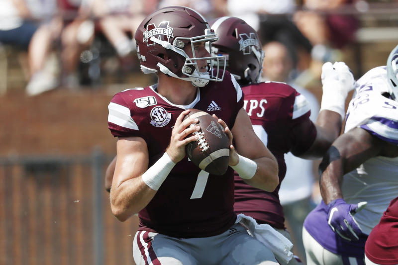 Mississippi State quarterback Tommy Stevens (7) drops back to pass against Kansas State during the first half of their NCAA college football game in Starkville, Miss., Saturday, Sept. 14, 2019. (AP Photo/Rogelio V. Solis)