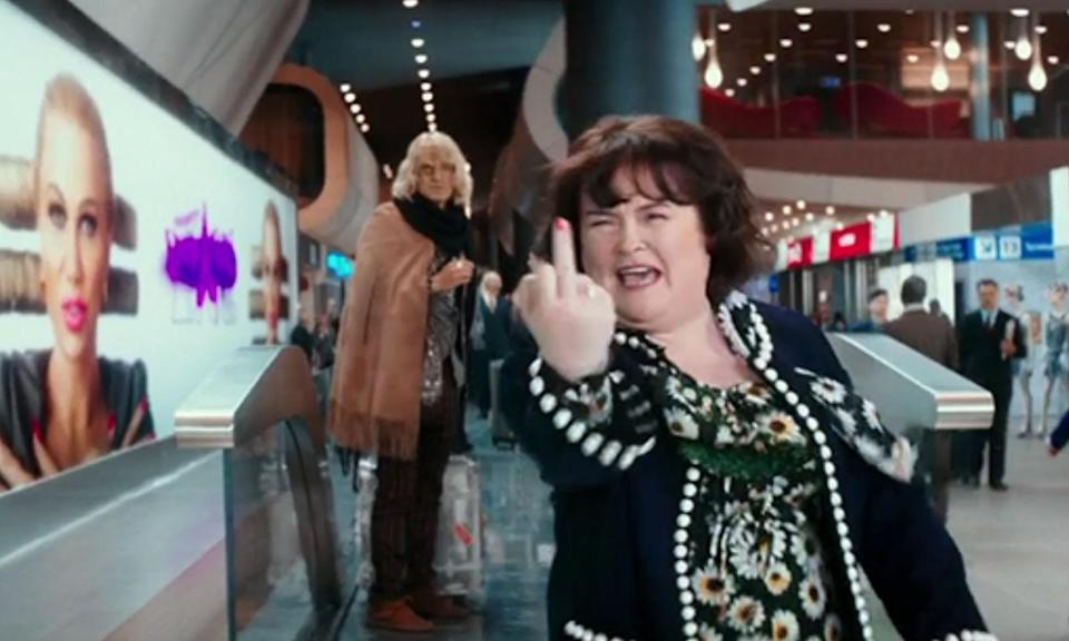 "<p>""Take a picture of that, vultures!""<br>The only silver lining in this abysmal sequel to Zoolander is Susan Boyle's cameo. The film is filled with celebrity faces but the one with the Britain's Got Talent singer is the best. Hansel and Derek are at the airport ready to face the paparazzi but it's not them they're interested in, it's Susan, who barges by and flips the photographers the birdie. Classic. </p>"