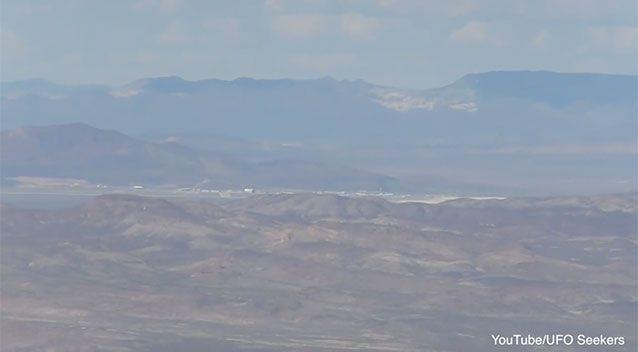 The images appear to show a remote desert air base. Photo: YouTube/UFO Seekers