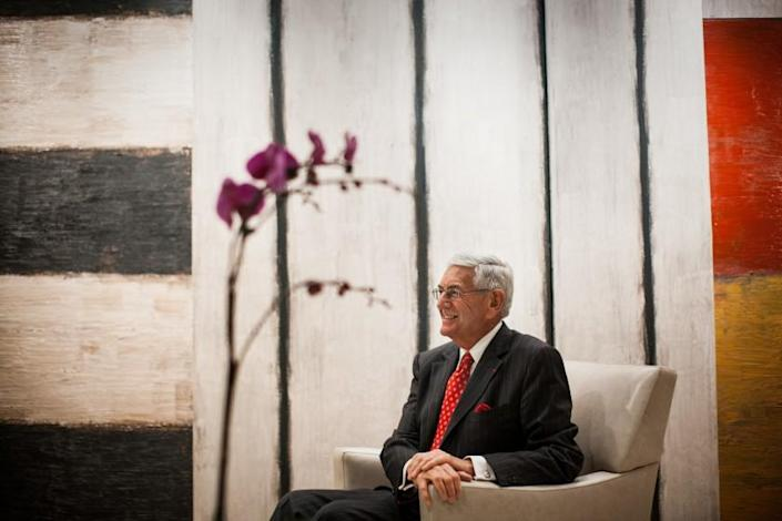 """LOS ANGELES, CA--FEBRUARY 03, 2009--Entrepreneur and philanthropist Eli Broad is photographed in front of Sean Scully's painting, """"Conversation, 1986,"""" in the Broad Foundation offices, in Los Angeles, CA, February 03, 2009. (Jay L. Clendenin / Los Angeles Times)"""