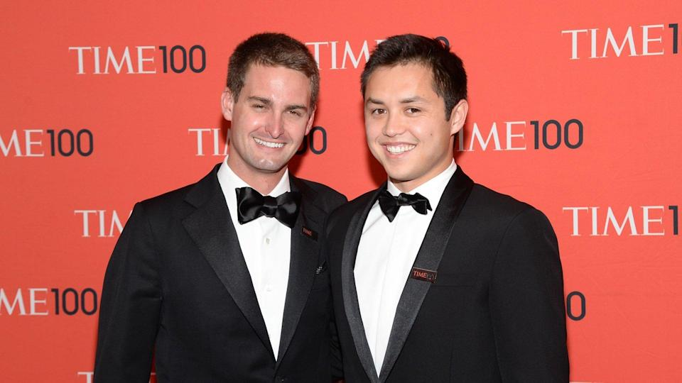 Mandatory Credit: Photo by Evan Agostini/Invision/AP/Shutterstock (9053098a)Snapchat co-founders Evan Spiegel and Bobby Murphy arrives at the 2014 TIME 100 Gala held at Frederick P.