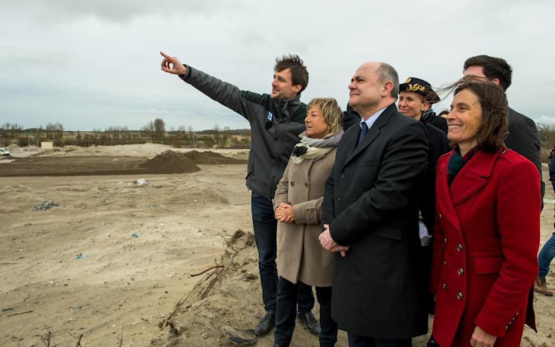 French interior minister Bruno Le Roux with Calais Mayor Natacha Bouchart [L]: Philippe Huguen/AFP/Getty