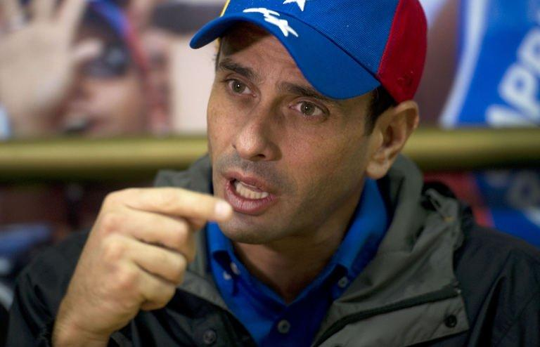Venezuela's opposition leader Henrique Capriles in Caracas on May 15, 2013