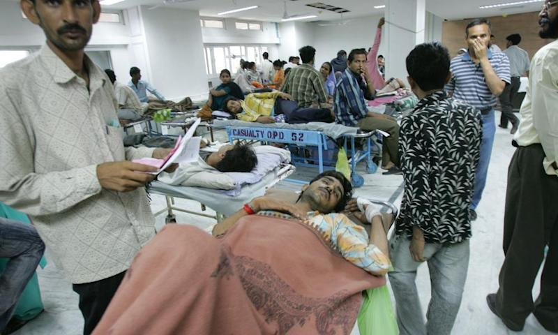 Patients diagnosed with dengue fever at the All India Institute of Medical Sciences in New Delhi