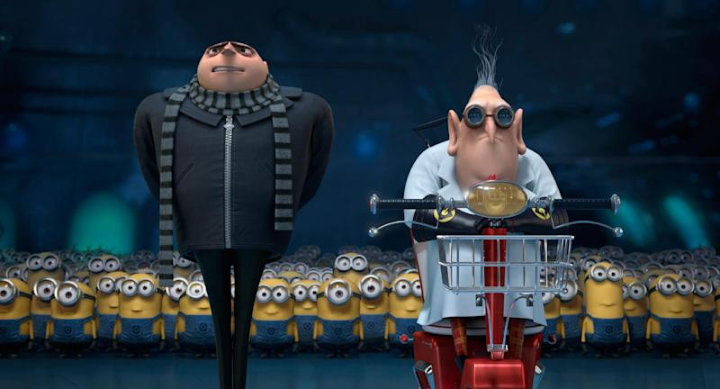 "This film publicity image released by Universal Pictures shows characters Gru, voiced by Steve Carell, left, and Dr. Nefario, voiced by Russell Brand, in ""Despicable Me 2."" (AP Photo/Universal Pictures)"