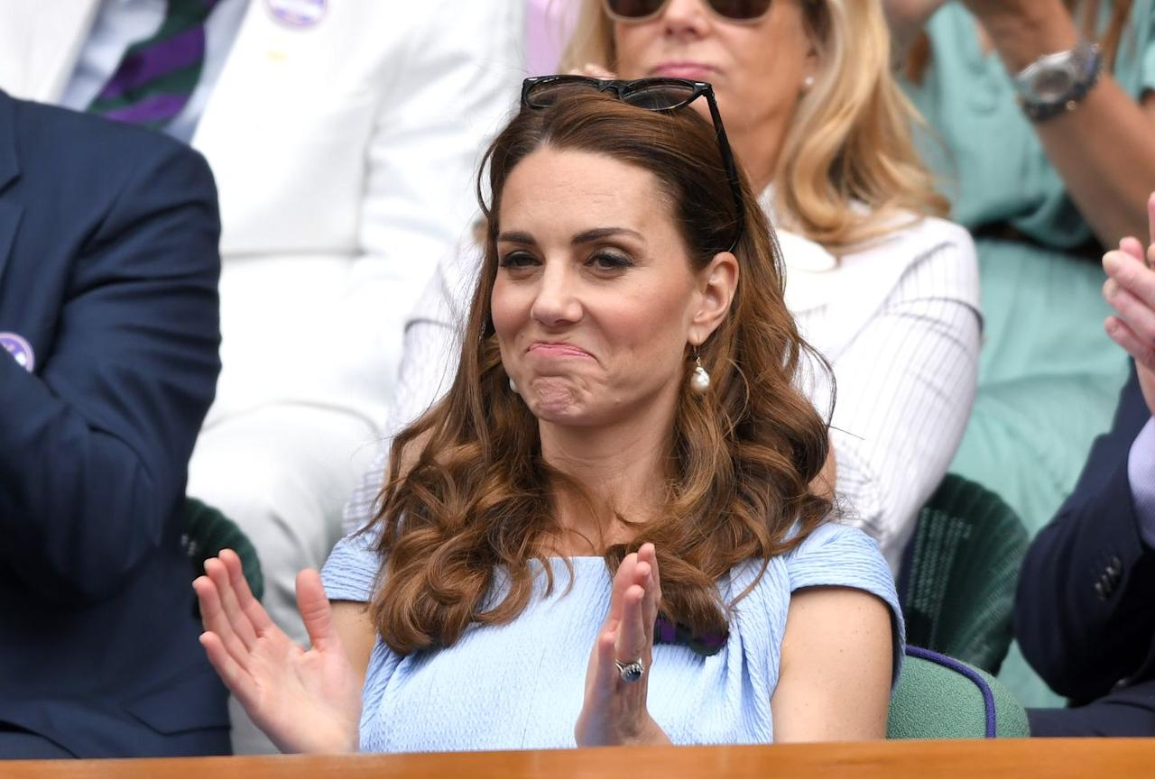 """<p>""""Fair enough,"""" Kate's face seems to say, as she watches <a href=""""https://www.townandcountrymag.com/society/tradition/g10241217/royal-family-wimbledon/"""" target=""""_blank"""">the men's finals match at Wimbledon</a>.<br></p>"""