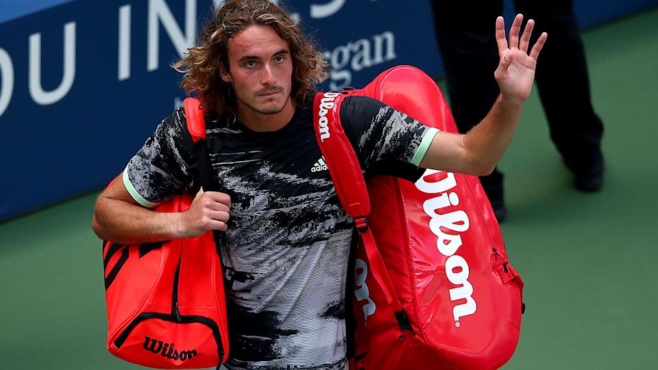 Stefanos Tsitsipas, pictured here after crashing out of the US Open.