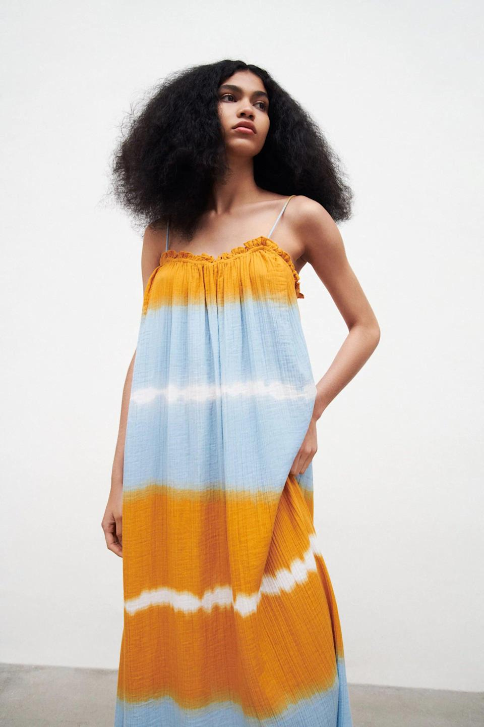 <p>Whether you style this <span>Zara Tie-Dye Gauze Dress</span> ($50) with pared-back Keds sneakers or add a touch of style with embellished slide sandals, it will help you feel effortless and polished.</p>