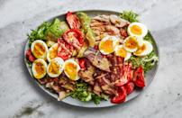 """Grab a rotisserie chicken (or pull out your roast chicken leftovers from the fridge) and make this hearty, bacony salad for lunch or dinner. If you can only find decent cherry tomatoes, they'll work here just fine. <a href=""""https://www.epicurious.com/recipes/food/views/chicken-cobb-salad?mbid=synd_yahoo_rss"""" rel=""""nofollow noopener"""" target=""""_blank"""" data-ylk=""""slk:See recipe."""" class=""""link rapid-noclick-resp"""">See recipe.</a>"""